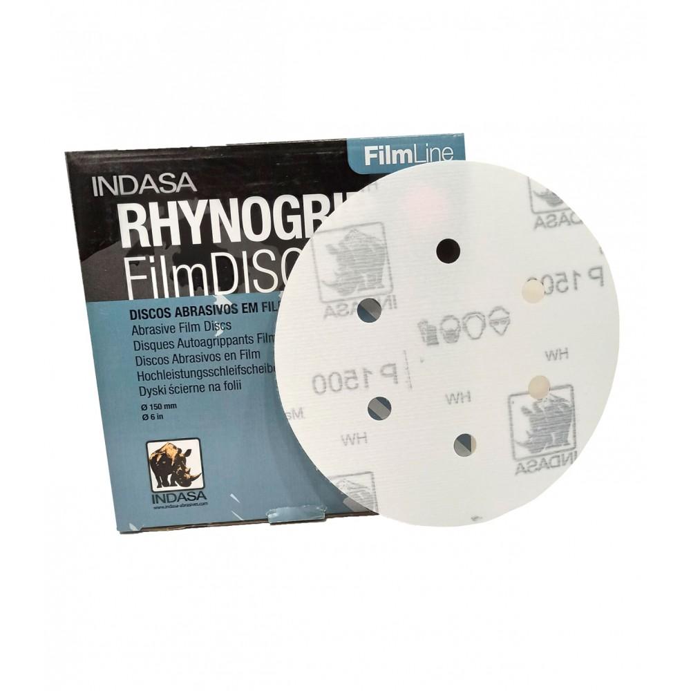 Абразивні диски INDASA RHYNOGRIP FILM LINE на 6 отверстий ( 150мм), Р 1000