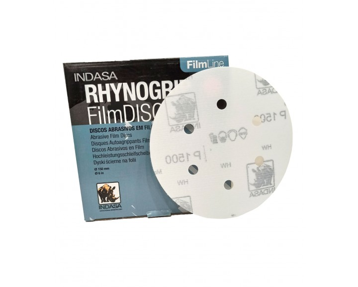 Абразивні диски INDASA RHYNOGRIP FILM LINE на 6 отворів ( 150мм), Р 1200