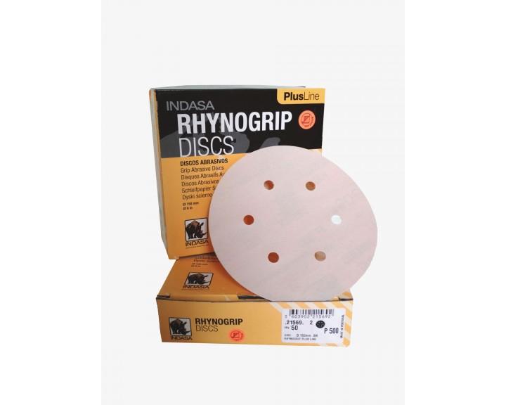 Шліфувальні диски INDASA RHYNOGRIP PLUS LINE на 6 отворів (150 мм), Р 400