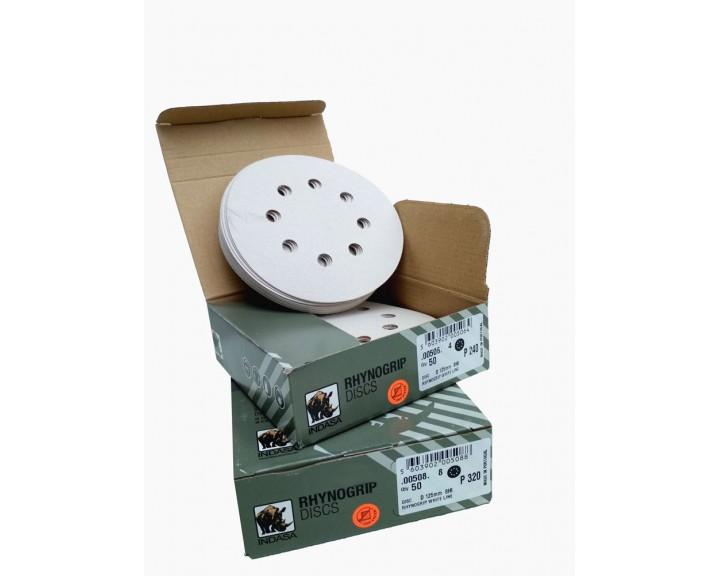 Шліфувальні диски INDASA RHYNOGRIP WHITE LINE на 8 отворів (125 мм)