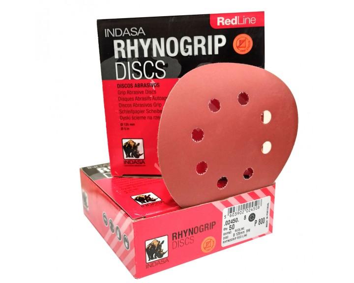 Шліфувальні диски INDASA RHYNOGRIP RED LINE на 8 отворів (125 мм), Р 120