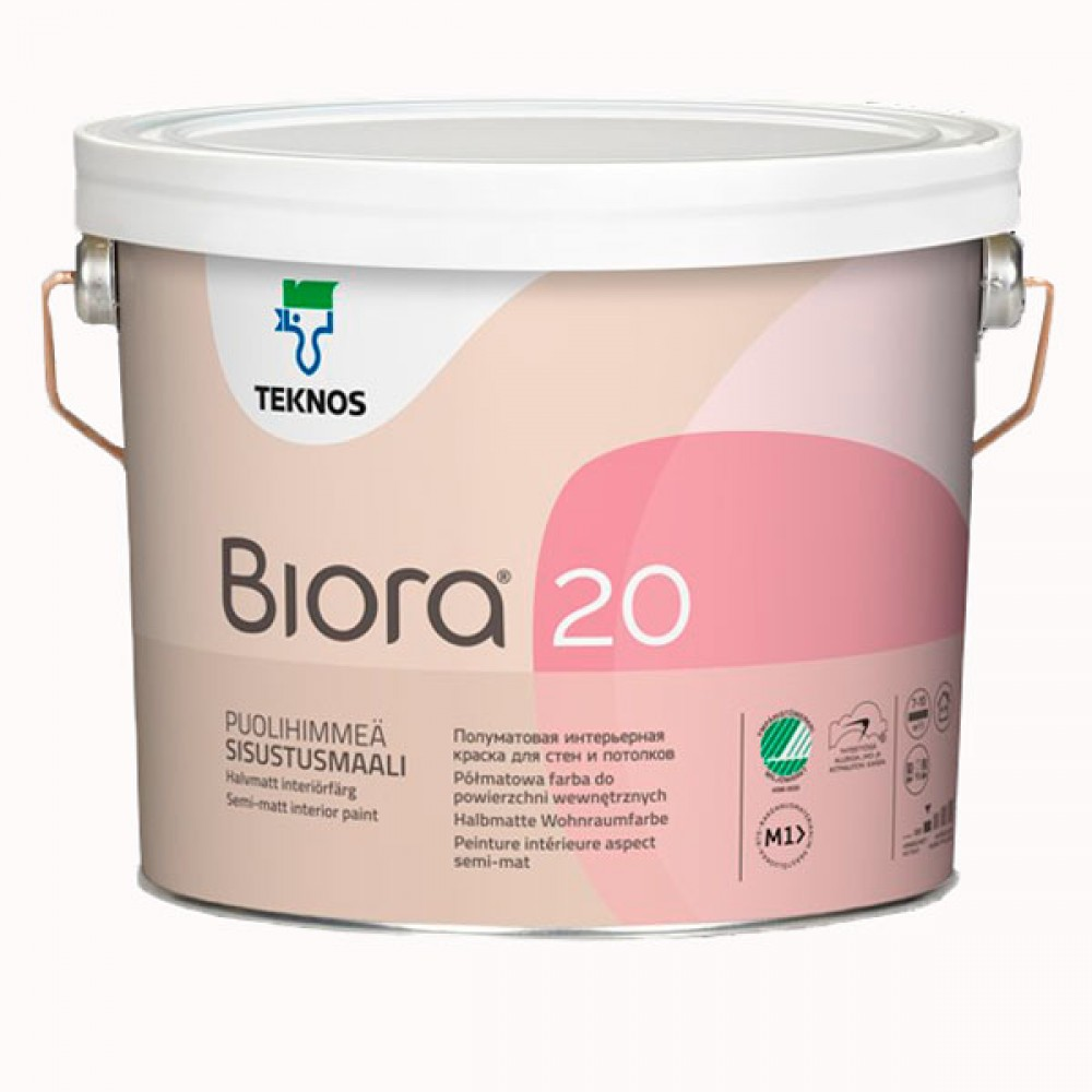 Акриловая износостойкая краска для стен и потолков TEKNOS Biora 20 (База 1), 2.7 л
