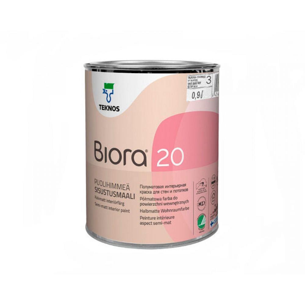 Акриловая износостойкая краска для стен и потолков TEKNOS Biora 20 (База 1), 0.9 л