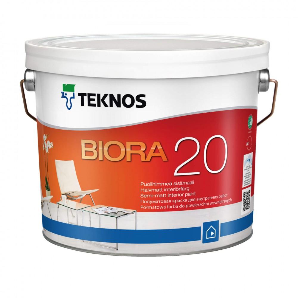 Акрилова зносостійка фарба для стін та стелі TEKNOS Biora 20 (База 1), 0.9 л