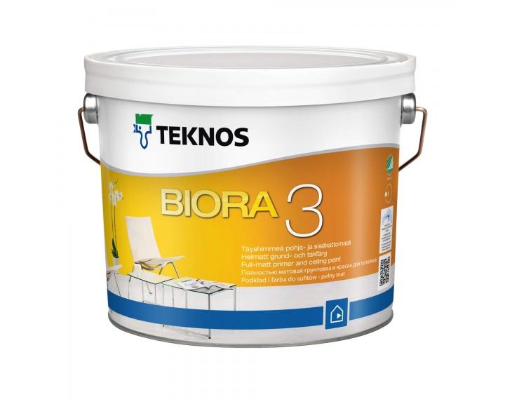 Водорозчинна грунтуюча фарба для стін та стелі TEKNOS Biora 3, 9 л