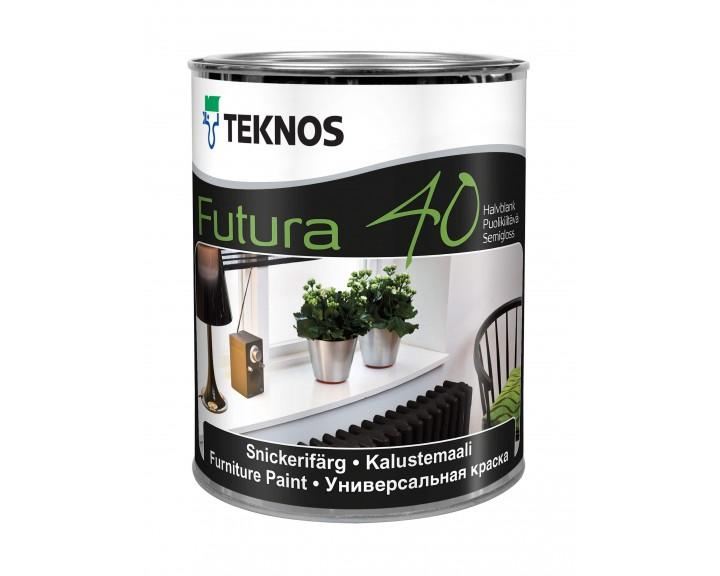 """Фарба з високою тиксотропністю для дерев""""яних та металічних поверхонь TEKNOS Futura 40 (База 1), 0.9 л"""