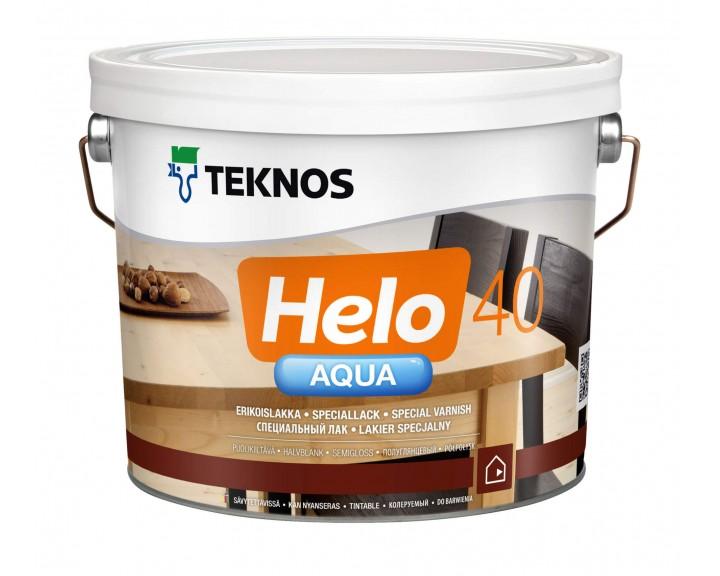 Водорозчинний шовковисто глянцевий лак на основі поліуретану для  підлоги, сходів, меблів TEKNOS Helo Aqua 40, 0.9 л