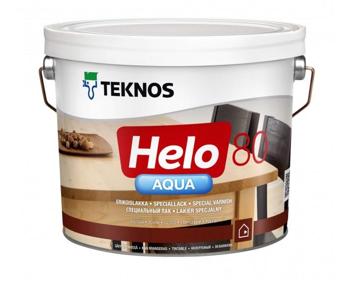 Водорозчинний глянцевий лак на основі поліуретану для  підлоги, сходів, меблів TEKNOS Helo Aqua 80, 9 л