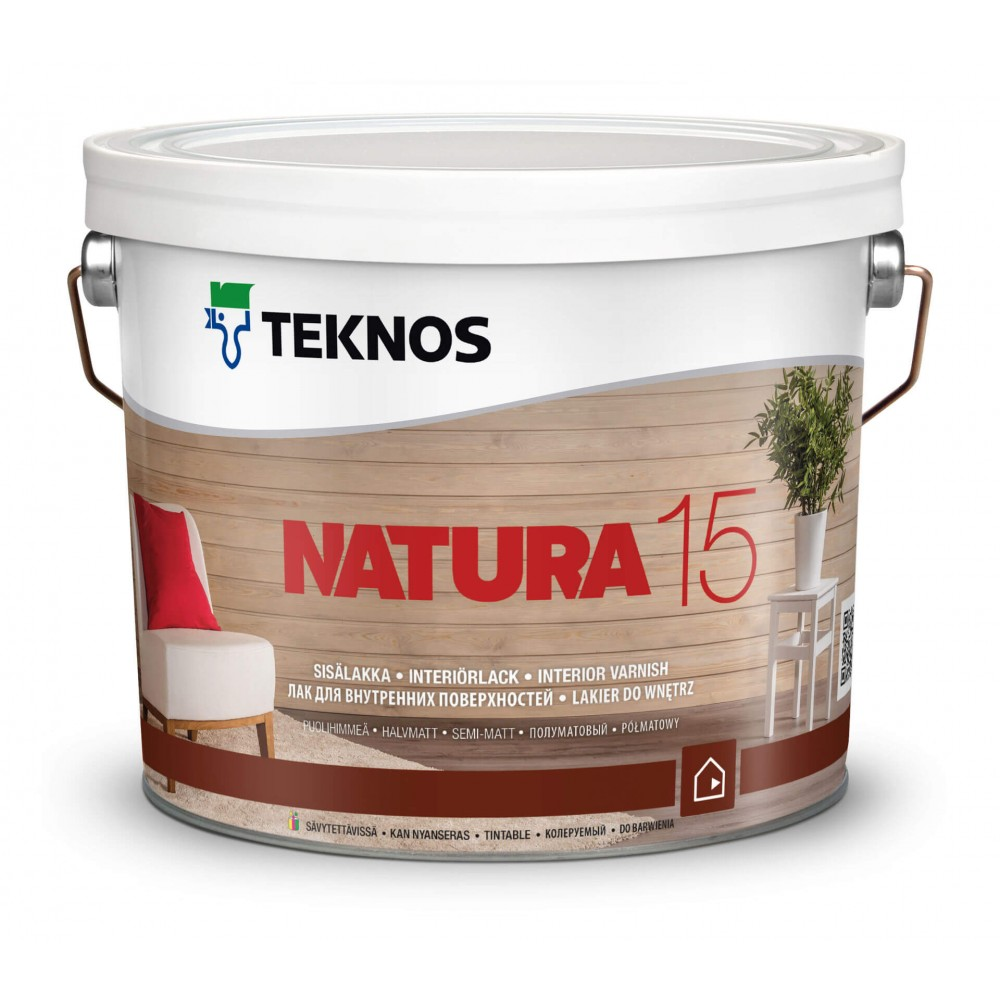 Акриловый лак с высокой стойкостью к пожелтению и износу для деревянных панелей, вагонки, мебели TEKNOS Natura 15, 0.9 л