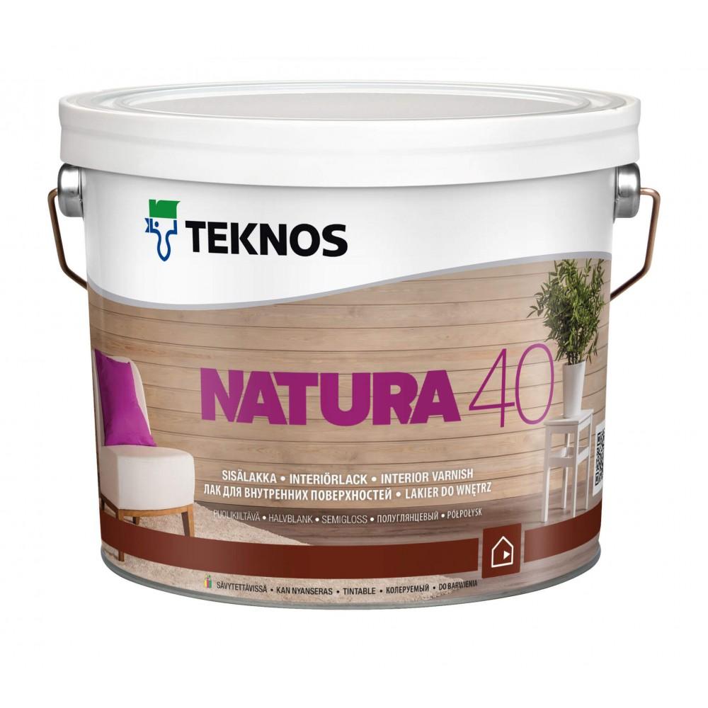 Акриловый лак с высокой стойкостью к пожелтению и износу для деревянных панелей, вагонки, мебели TEKNOS Natura 40, 0.9 л