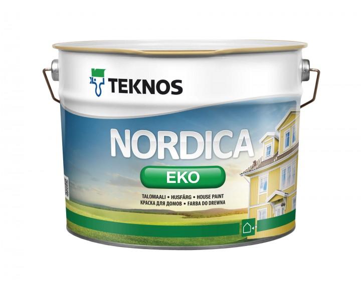 Фарба глянцева для зовнішніх дерев'яних виробів TEKNOS Nordica Eko (База 1), 9 л