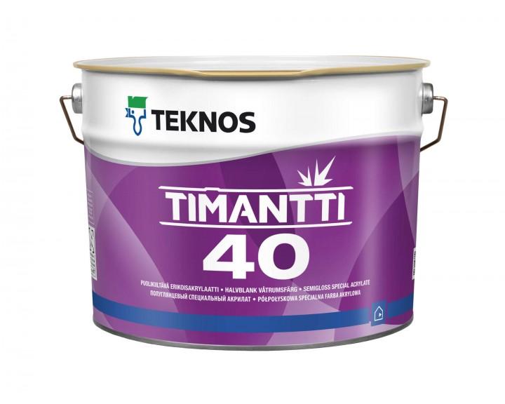Зносостійка напівглянцева фарба , для стін та стелі , запобігає появі плісняви TEKNOS TIMANTTI 40 (База 1), 2.7 л