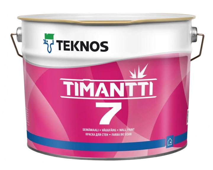 Зносостійка матова фарба , для стін та стелі , запобігає появі плісняви TEKNOS TIMANTTI 7 (База 1), 2.7 л