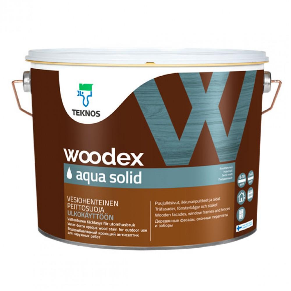 Белый водорасстворимый продукт с содержанием масла для терасс, заборов,оконных рам, деревянного домостроения   TEKNOS Woodex Aqua Solid (База 1), 0.9 л